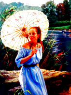 Butterfly Umbrella 40x30 Huge Original Painting by Cao Yong - 0