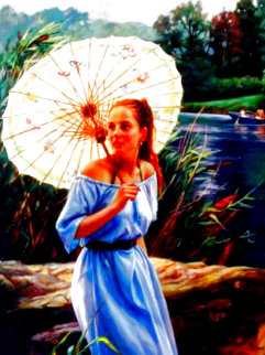 Butterfly Umbrella 40x30 Huge Original Painting - Cao Yong