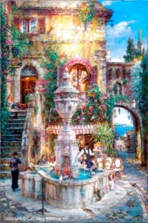 Twilight By the Fountain Limited Edition Print - Cao Yong
