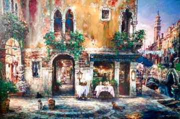 Evening in Venice Italy 2002 Embellished Limited Edition Print - Cao Yong