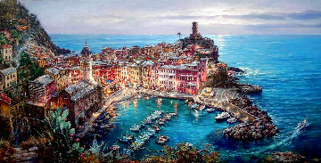 Moonlight in Vernazza AP 2007 Embellished  Limited Edition Print - Cao Yong