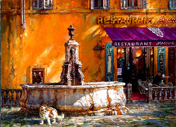 Town Square Tuscany Embellished Limited Edition Print - Cao Yong