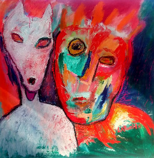 Untitled Portrait 48x48 Huge Original Painting - Carole Laroche