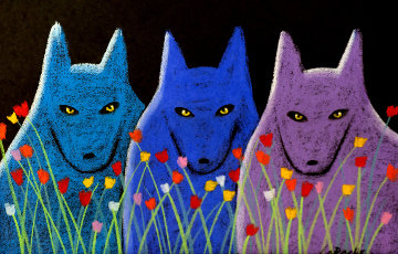 Three Lobos With Flowers Pastel 32x40 Works on Paper (not prints) - Carole Laroche