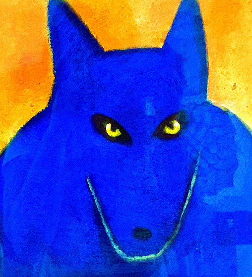 Blue Wolf 2000 22x22 Works on Paper (not prints) by Carole Laroche