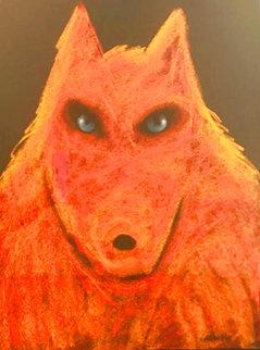 Orange Wolf Pastel 2017 35x27 Original Painting - Carole Laroche