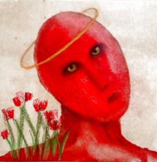 Serah/Red Tulips 1998 20x20 Works on Paper (not prints) - Carole Laroche