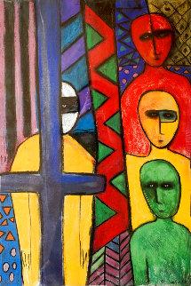 Totem IV (Four Warriors With Cross) 1991 59x44 Super Huge Original Painting - Carole Laroche