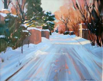Untitled Winter Landscape 28x24 Original Painting by Howard Carr