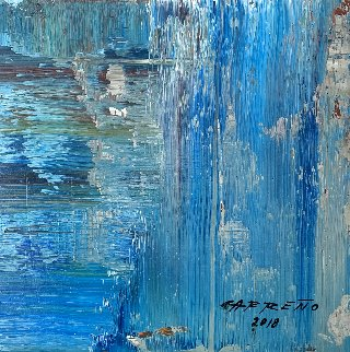 Descending 2017 13x15 Original Painting - Antonio Carreno