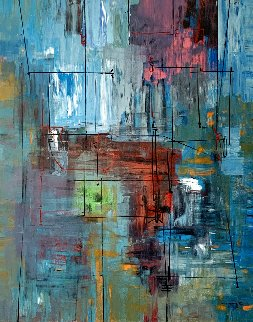 Blue Ensamble 2008 72x58 Original Painting - Antonio Carreno
