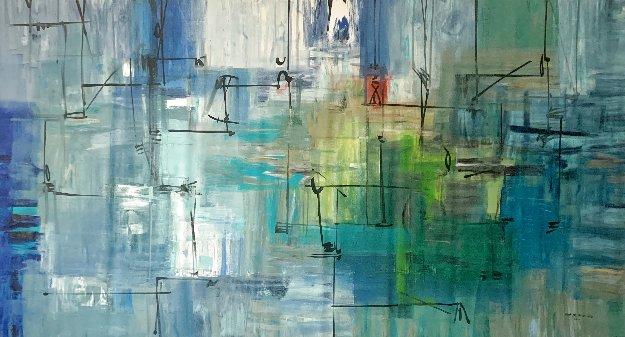 Blue Shift #4 2011 54x98 Super Huge Original Painting by Antonio Carreno