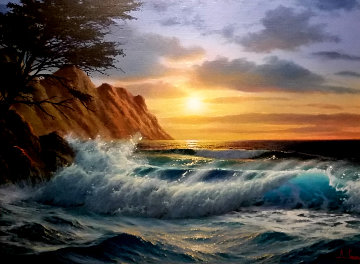 Cypress Sunset 25x32 Original Painting by Anthony Casay