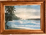 Tropical Beach at Sunset 26x36 Original Painting by Anthony Casay - 1