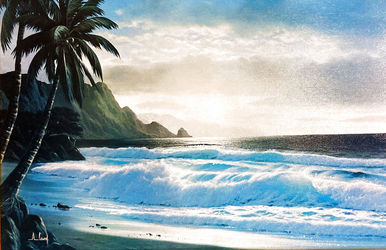 Tropical Beach at Sunset 26x36 Original Painting by Anthony Casay