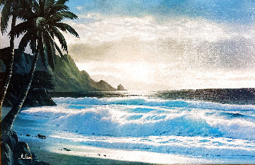 Tropical Beach at Sunset 26x36 Original Painting - Anthony Casay