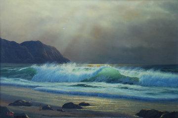 California Coastline  1970 24x36 Original Painting - Anthony Casay