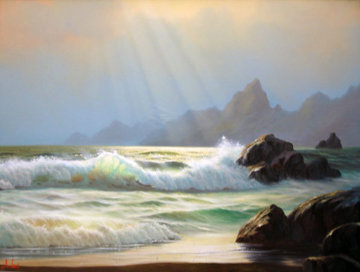 Seascape 1980 24x36 Original Painting by Anthony Casay