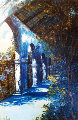 Untitled Courtyard 44x32 Original Painting - Anthony Casay
