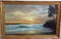 Hawaiian Sunset 1976 36x60 Super Huge Original Painting by Anthony Casay - 1