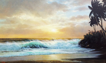 Hawaiian Sunset 1976 36x60 Huge Original Painting - Anthony Casay