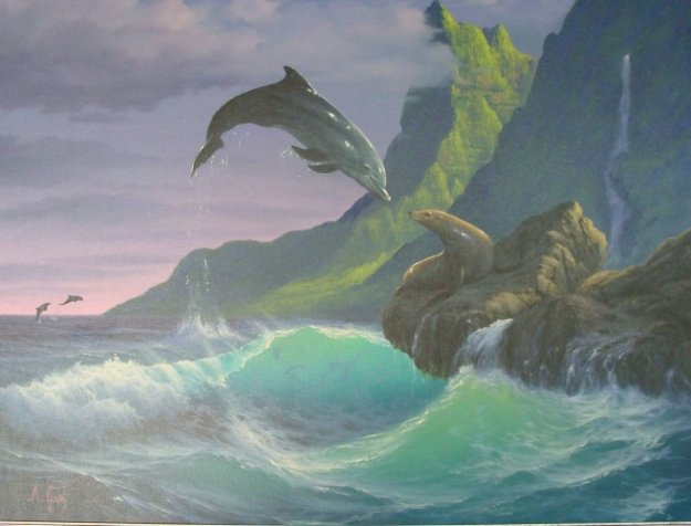 Seal With a Kiss II, Hawaii 35x45 Original Painting by Anthony Casay