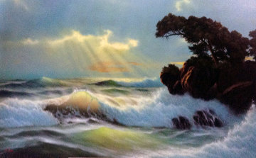 Seascape 1980 44x64 Huge Original Painting - Anthony Casay