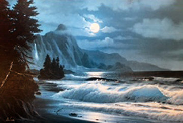 Hanalei At Night 1970 34x24 Original Painting by Anthony Casay