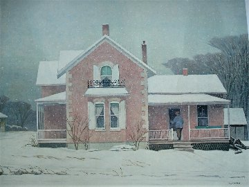 Pink Farm House AP 1980 Limited Edition Print - A.J. Casson