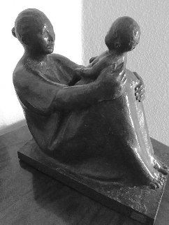 Seated Woman With Child Bronze Sculpture 1989 11 in Sculpture by Felipe Castaneda