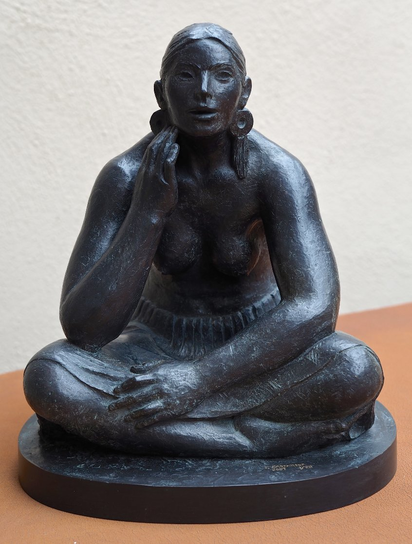 Mujer Con Orejeras (Woman With Earrings) Bronze Sculpture 2007 16 in Sculpture by Felipe Castaneda