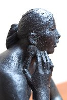 Mujer Con Orejeras (Woman With Earrings) Bronze Sculpture 2007 16 in Sculpture by Felipe Castaneda - 1