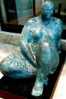 La Espera Bronze Sculpture 1978 17 in  Sculpture - Felipe Castaneda