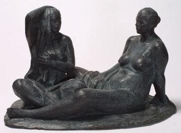 Mujeres Aseandose (Women Grooming) Bronze Sculpture 2005 Sculpture by Felipe Castaneda