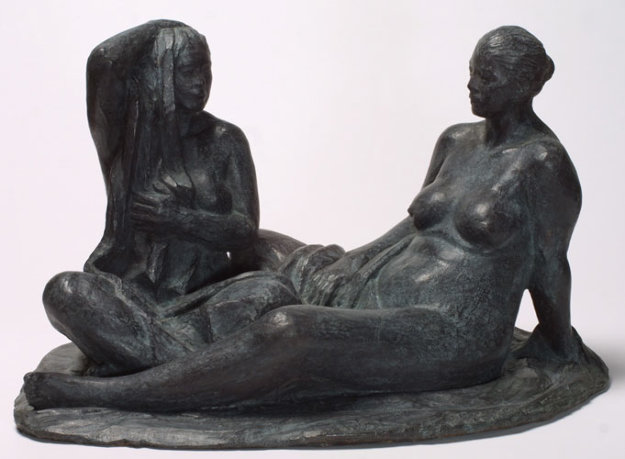 Mujeres Aseandose (Women Grooming) Bronze Sculpture 2005 16 in Sculpture by Felipe Castaneda