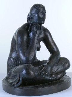 Mujer Con Orejeras (Woman with Earrings) Bronze Sculpture 2007 Sculpture by Felipe Castaneda