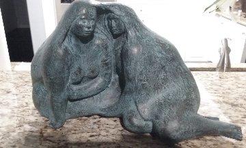 Mujeras Con Manta Bronze Sculpture 1987 19 in  Sculpture by Felipe Castaneda