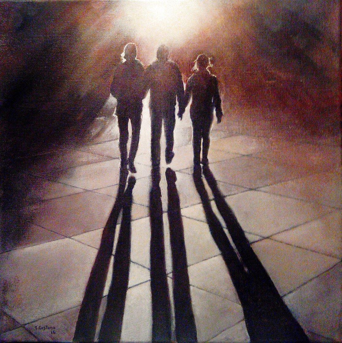 Caminando Al Atardecer 2016 15x15 Original Painting by Tomas Castano