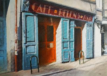 Cafe Belen, Madrid 2020 20x27 Original Painting - Tomas Castano