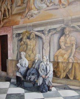 Reposo En El Vaticano 2005 24x18  Original Painting - Tomas Castano