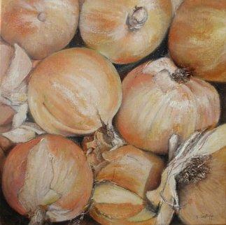 Onions 2011 11x11 Original Painting - Tomas Castano