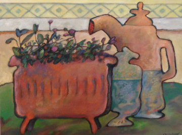 Fleurs Tardives 1999 16x20 Original Painting - Gerard Castonguay