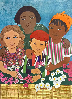 Children With Flowers PP 1995 Limited Edition Print - Elizabeth Catlett