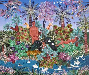 Adam And Eve 1992 22x27 Original Painting - Miguel Garcia  Ceballos