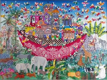 Untitled (Noah's Ark) 1983 31x43 Original Painting - Miguel Garcia  Ceballos