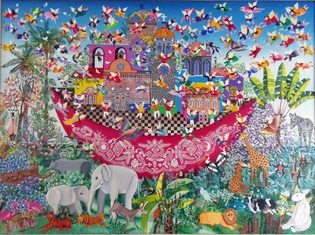 Untitled (Noah's Ark) 1983 31x43 Original Painting by Miguel Garcia  Ceballos