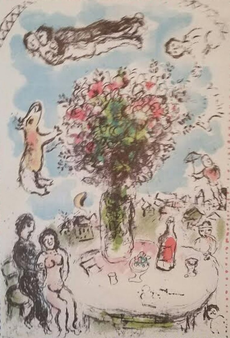 Lovers Table EA HS  Limited Edition Print by Marc Chagall