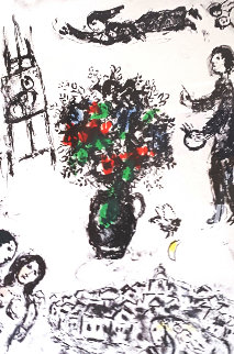 Bouquet Su La Ville 1983 Limited Edition Print by Marc Chagall