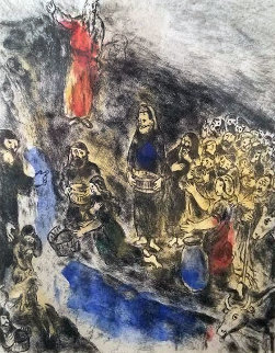 Moise Bible Suite: Fait Jaillir L'eau Du Rocher (Moses Stricking Water From the Rock) 193 Limited Edition Print - Marc Chagall