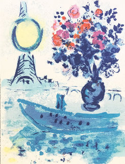 Regards Sur Paris (Le Bateau Mouche Au Bouquet)  1960 Limited Edition Print - Marc Chagall